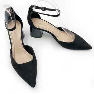 Bershka Faux Suede Pumps Low Heel Ankle Straps